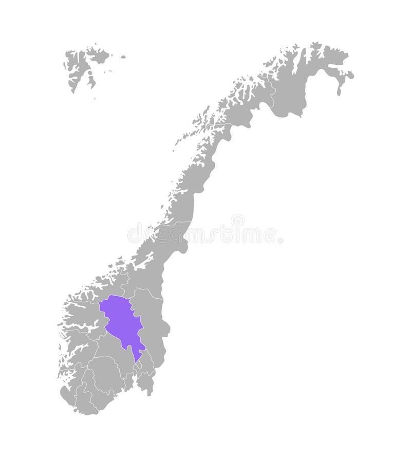 Вектор изолировал упрощенную иллюстрацию с серым силуэтом Норвегии, фиолетовый контур Oppland иллюстрация вектора