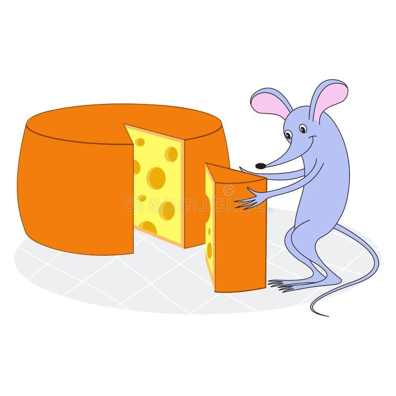 Вектор, изолированная иллюстрация Усмехаясь мышь с сыром бесплатная иллюстрация