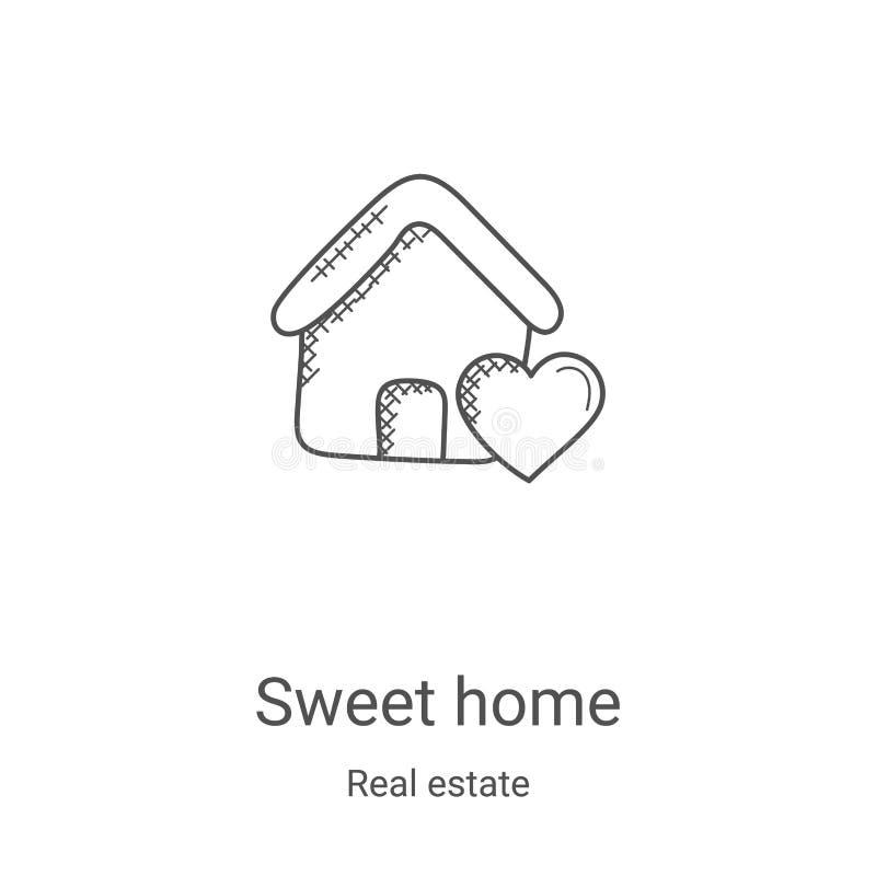 вектор иконки сладкого дома из коллекции недвижимости Векторная иллюстрация сладостной линии сладостно-домашнего контура Линейный бесплатная иллюстрация