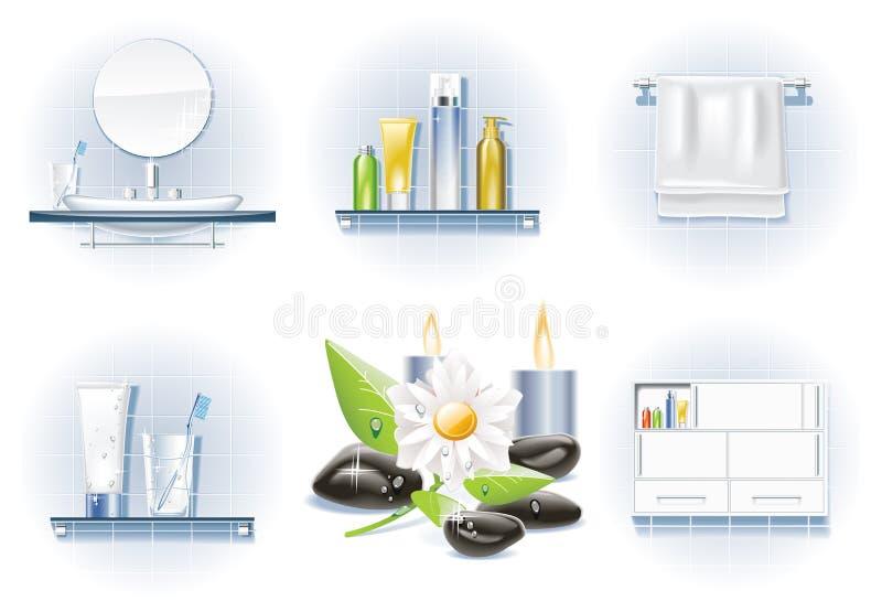 вектор иконы ванны установленный бесплатная иллюстрация