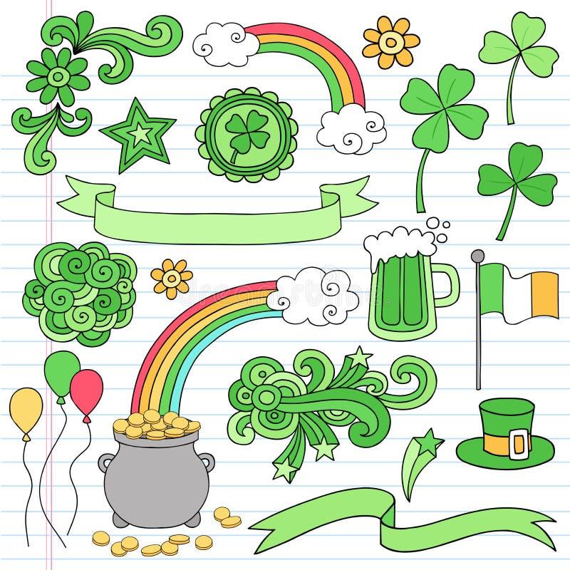 Вектор иконы Doodle тетради дня St Patricks установленный бесплатная иллюстрация
