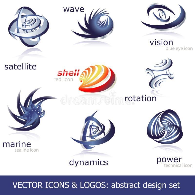 вектор икон установленный логосами иллюстрация вектора