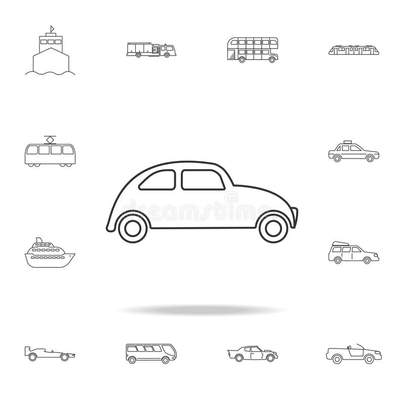 вектор иллюстрации иконы автомобиля eps10 Мини малый городской значок корабля города Детальный комплект значков плана перехода На иллюстрация вектора