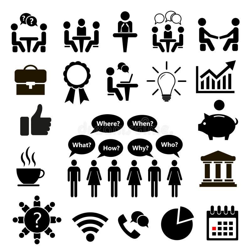 вектор иллюстрации икон дела установленный Конференция значка также вектор иллюстрации притяжки corel иллюстрация вектора