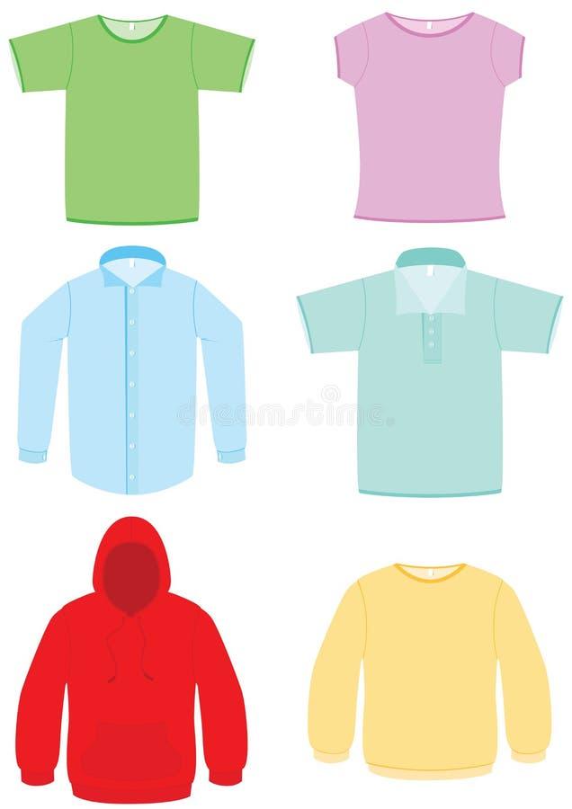 вектор иллюстрации одежды установленный иллюстрация штока