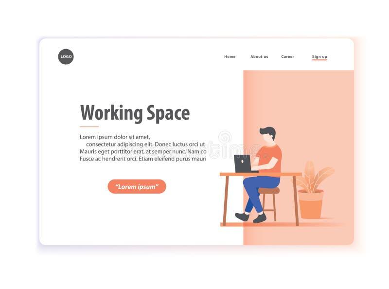 Вектор иллюстрации рабочей зоны плана интернет-страницы на белом backg бесплатная иллюстрация