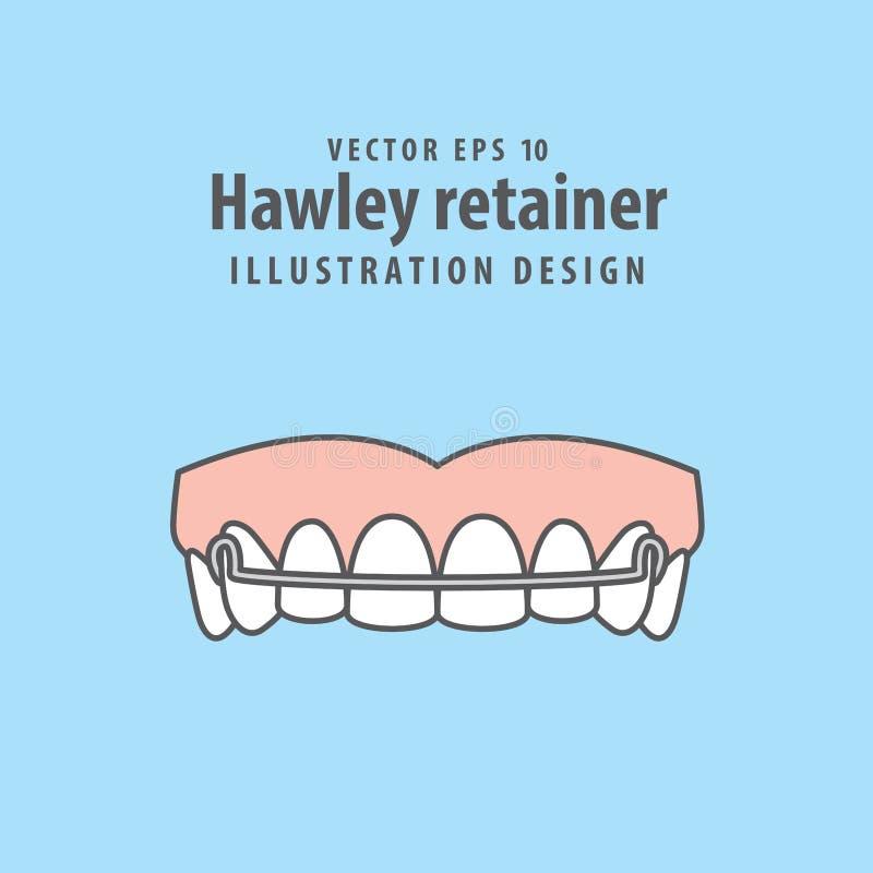 Вектор иллюстрации стопорного устройства Hawley на голубой предпосылке Зубоврачебный c бесплатная иллюстрация