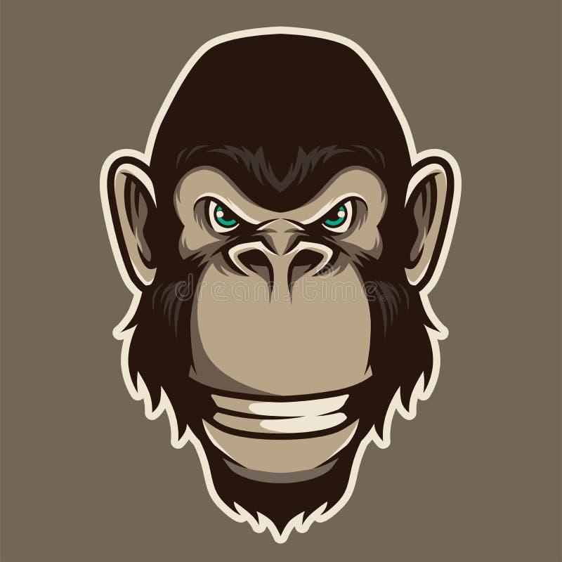 Вектор иллюстрации талисмана гориллы главный в стиле мультфильма бесплатная иллюстрация