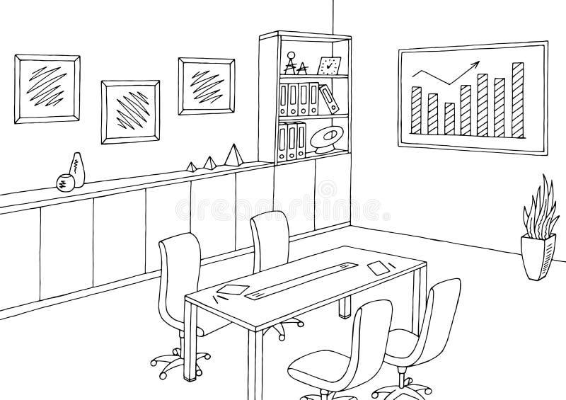 Вектор иллюстрации эскиза конференц-зала офиса графический черный белый внутренний иллюстрация штока