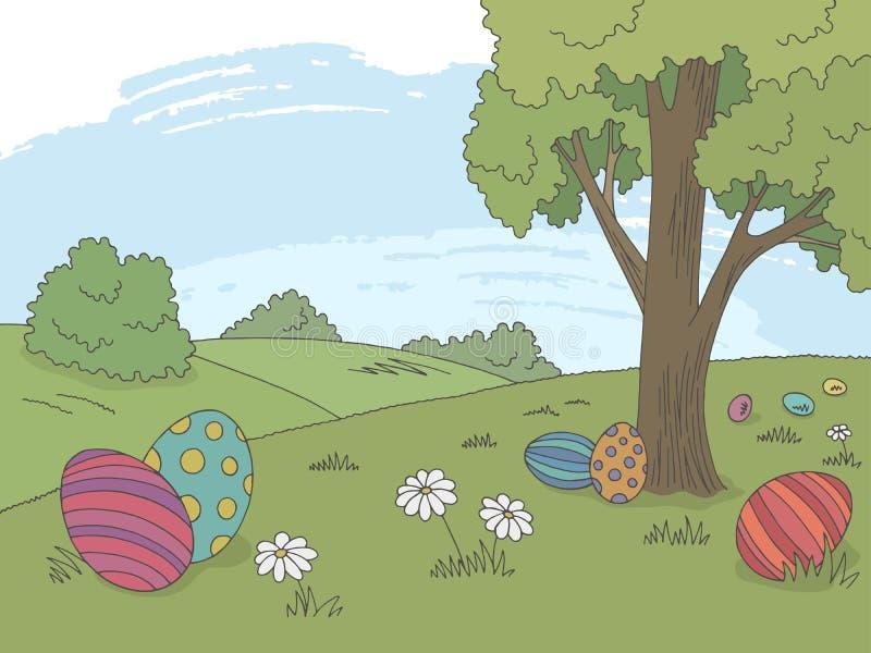 Вектор иллюстрации эскиза ландшафта цвета пасхального яйца графический бесплатная иллюстрация