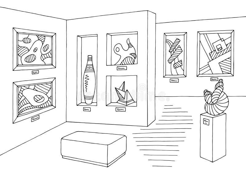 Вектор иллюстрации эскиза музея графический черный белый внутренний бесплатная иллюстрация