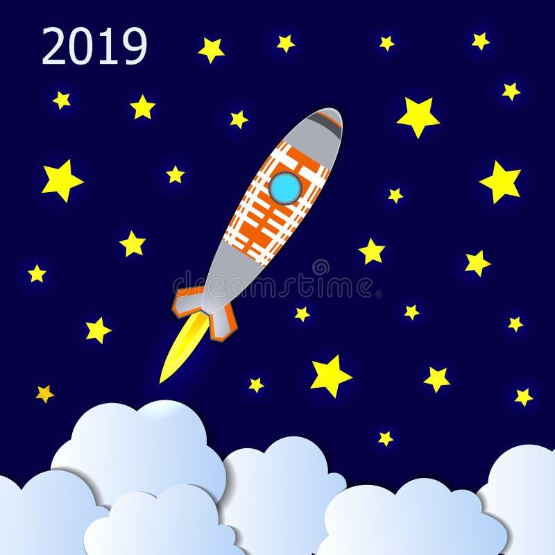 Вектор иллюстрация концепции 2019 Новых Годов начиная, старт Ракеты, светя звезды бесплатная иллюстрация