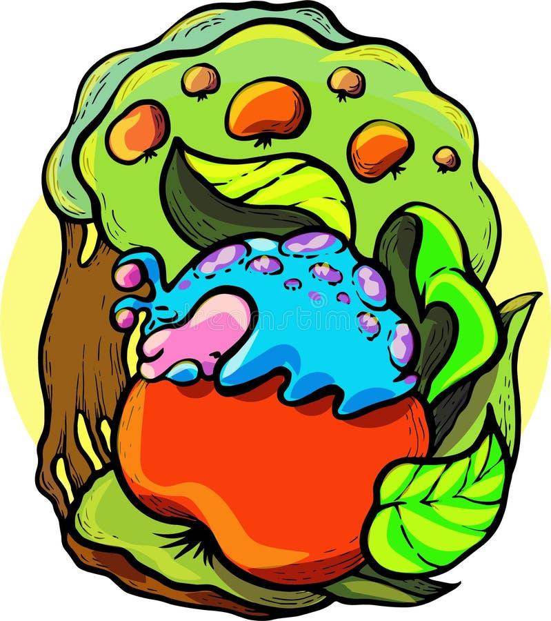 Вектор, иллюстрация, сказка ` s детей, гусеница, яблоко, мечта, остатки, лето, хорошее, иллюстрация вектора