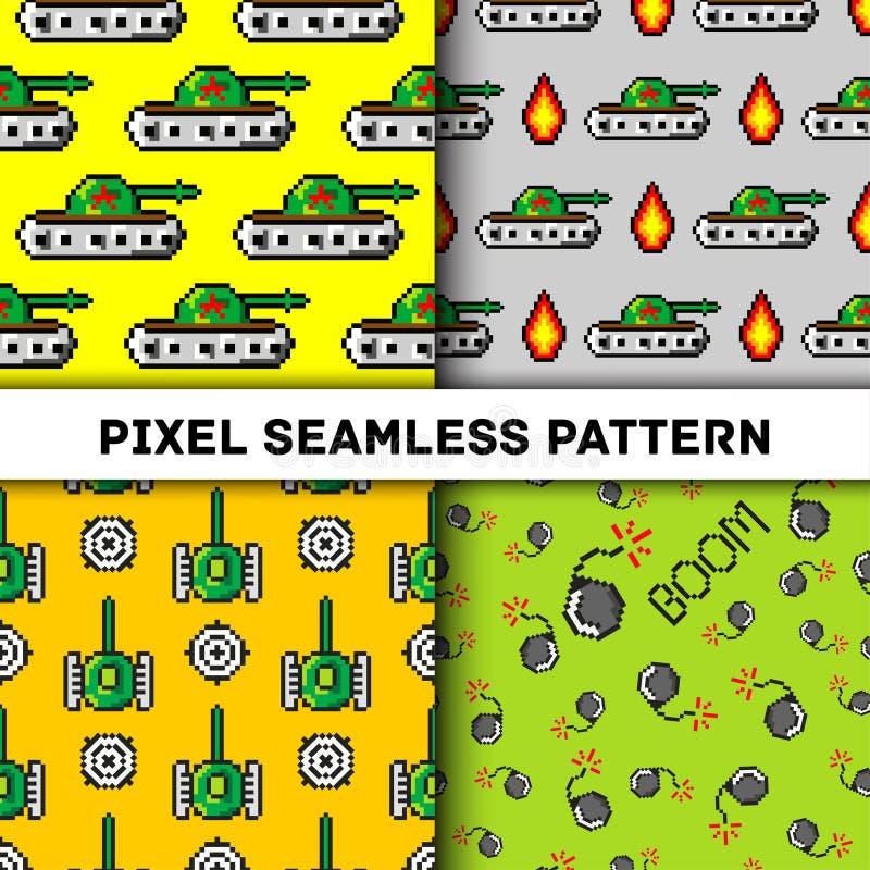 Вектор искусства пиксела возражает к картине моды безшовной Предпосылка с танками, заграждение, для мальчиков ультрамодный стиль  иллюстрация штока