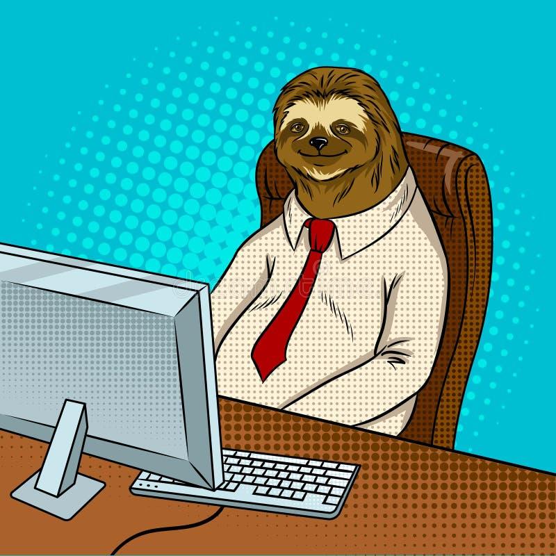 Вектор искусства шипучки работника офиса лени животный иллюстрация вектора