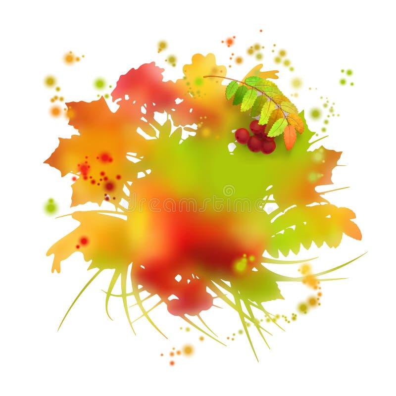 Вектор листвы осени акварели иллюстрация вектора