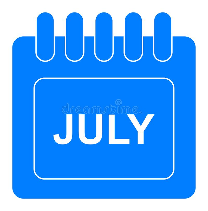 Вектор июль на ежемесячном значке сини календаря бесплатная иллюстрация