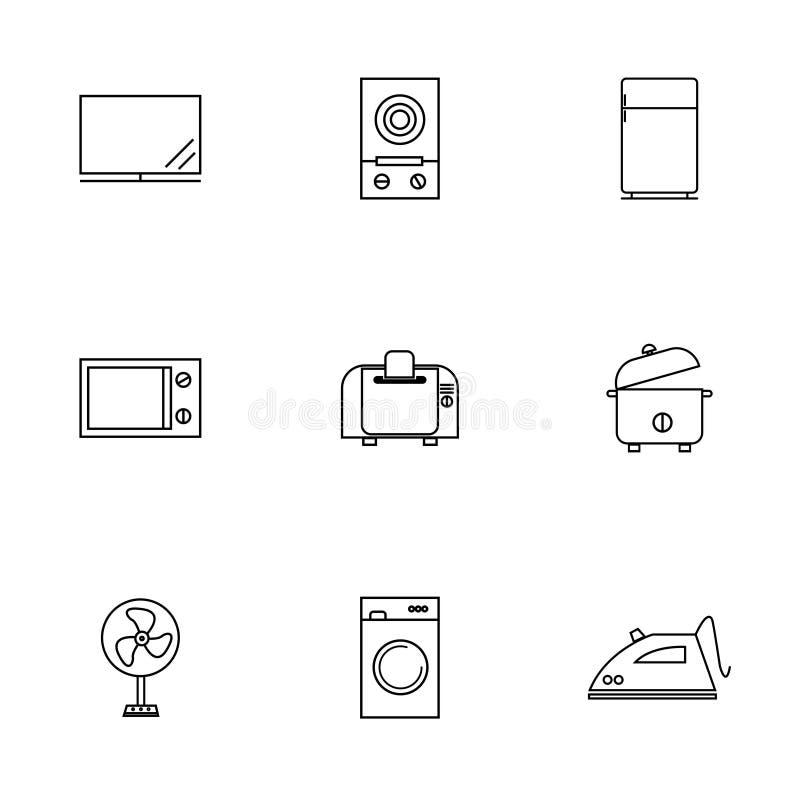 Вектор или иллюстрация линии установленных значков домашней электроники плоской иллюстрация вектора