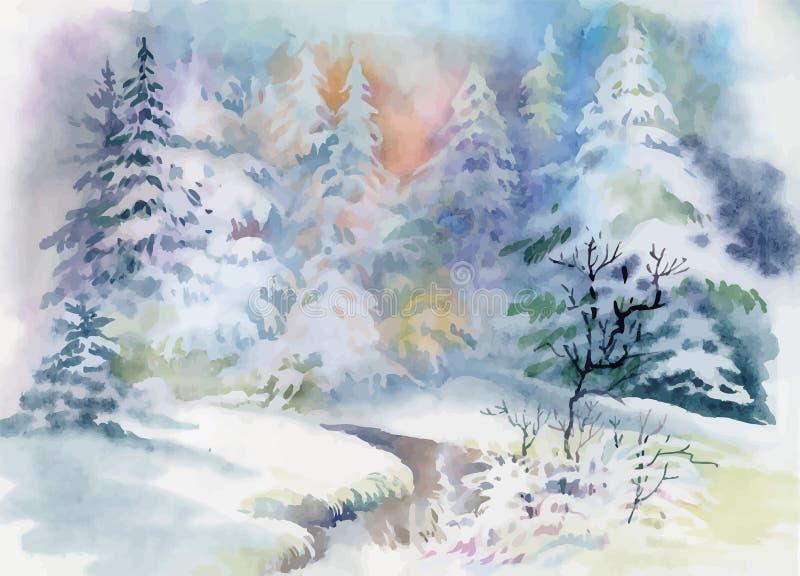 Вектор иллюстрации ландшафта зимы акварели иллюстрация вектора
