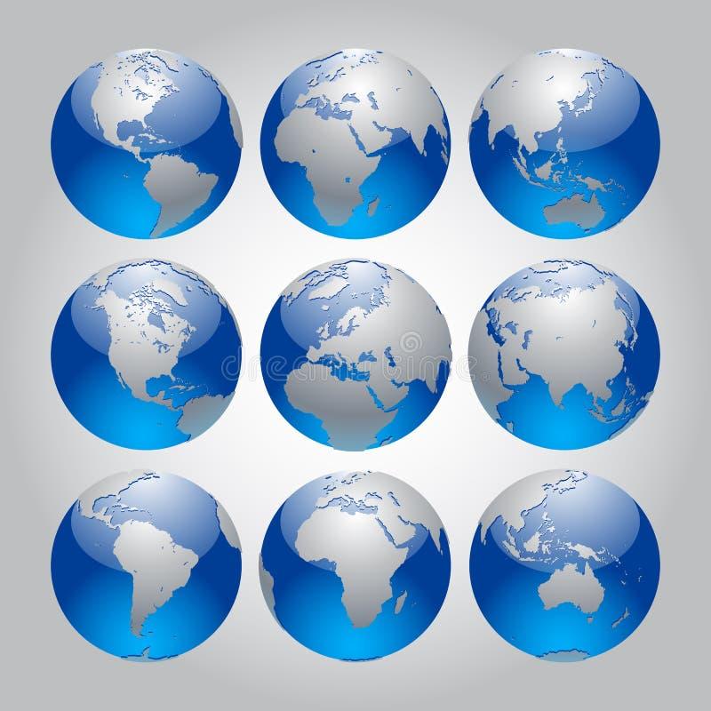 вектор иллюстрации глобуса конструкции установленный вы бесплатная иллюстрация