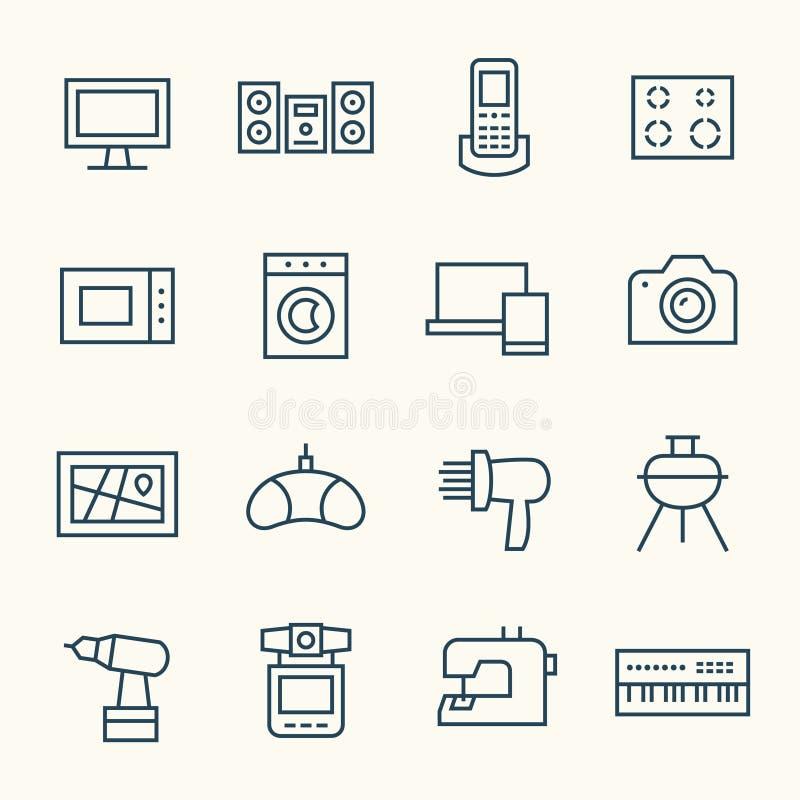 вектор иллюстрации икон электроники конструкции вы иллюстрация штока