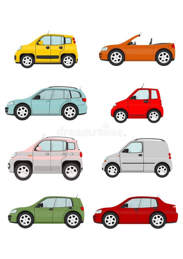 вектор иллюстрации шаржа автомобилей установленный бесплатная иллюстрация