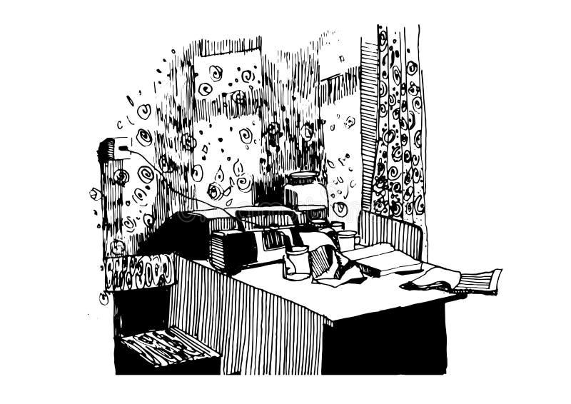 Вектор иллюстрации эскиза живущей комнаты внутренний графический черный белый иллюстрация вектора