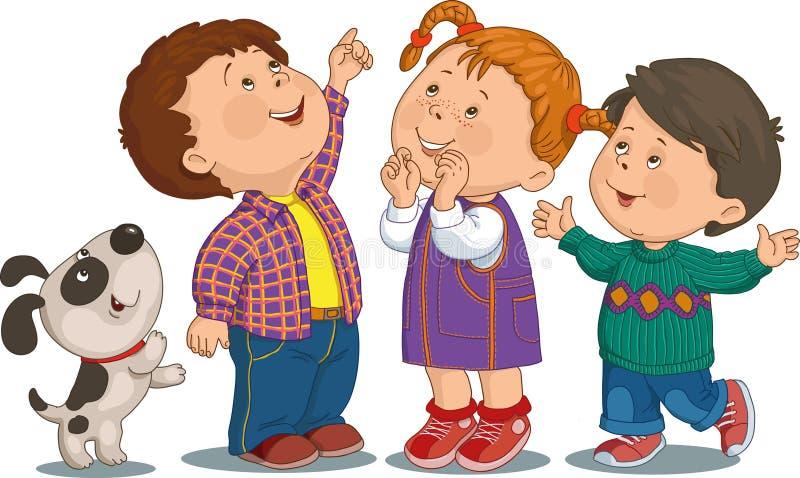 вектор иллюстраций детей шаржа дня рождения стоковая фотография rf
