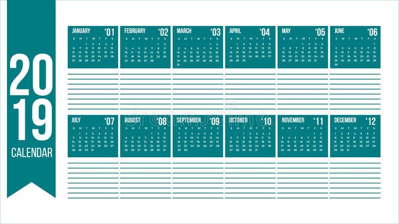 Вектор календаря 2019 Новых Годов в чистой минимальной таблице с пустым местом для примечаний простых в современном цвете, планов иллюстрация штока