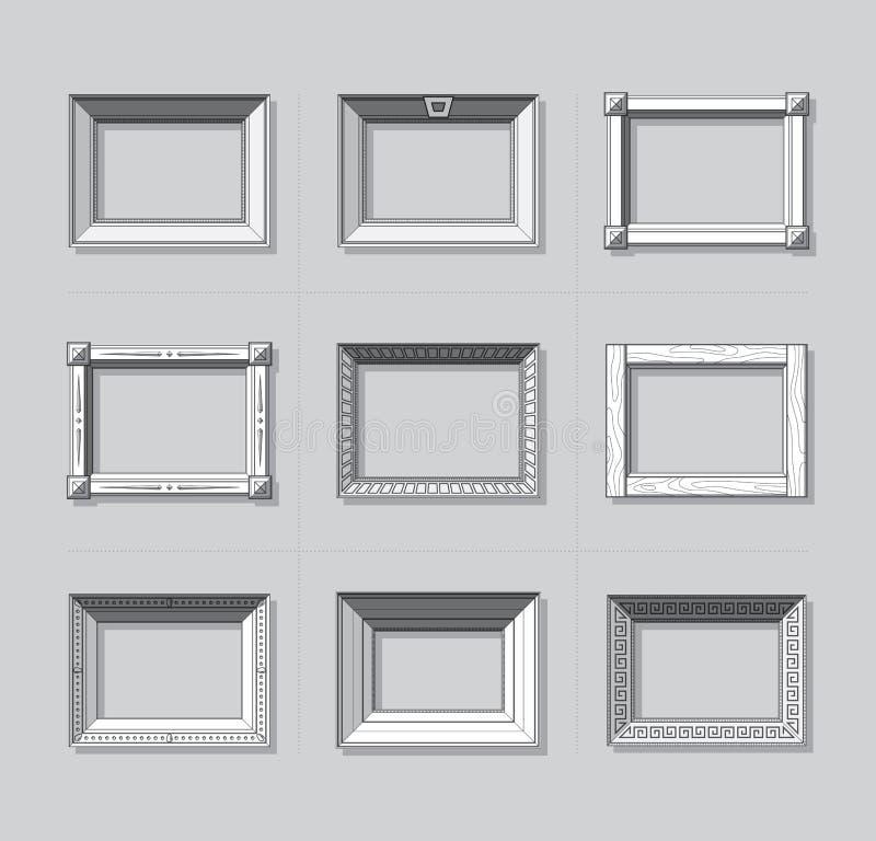 Вектор картинной рамки плоский kpugloe отверстия рамки предпосылки красивейшее черное сделало по образцу фото Рамка картины Компл бесплатная иллюстрация