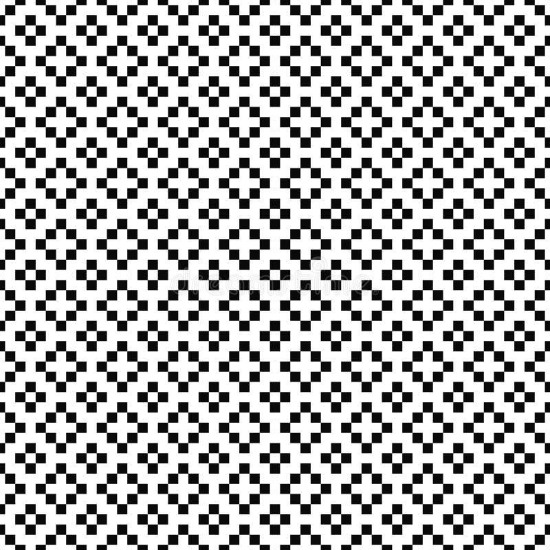 вектор картины безшовный геометрическая текстура Черно-белая предпосылка с крестами, плюс знаки Monochrome квадратный дизайн иллюстрация вектора
