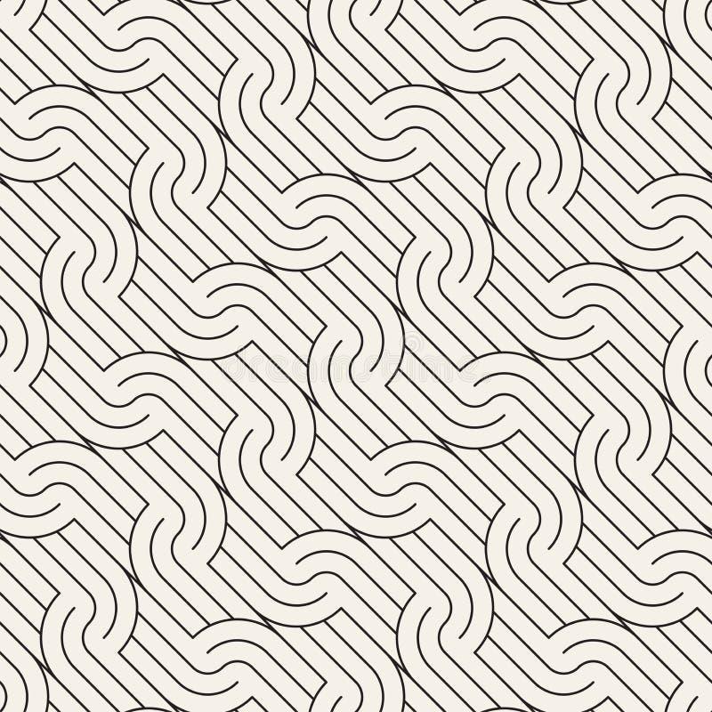 вектор картины безшовный Геометрический округленный орнамент нашивок Простые наклоненные волнистые линии предпосылка иллюстрация штока
