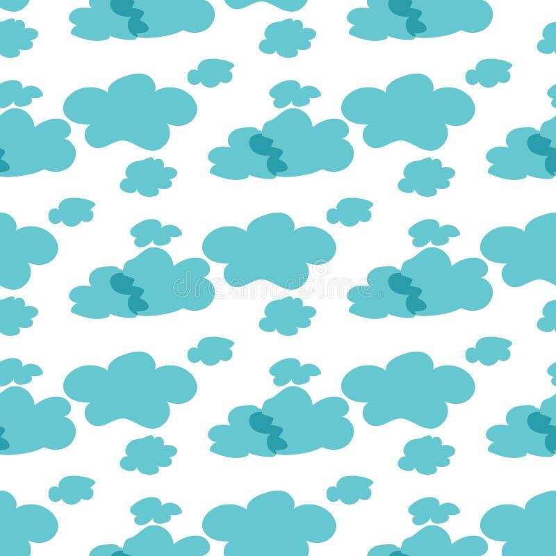 вектор картины безшовный Голубые облака на белой предпосылке иллюстрация штока