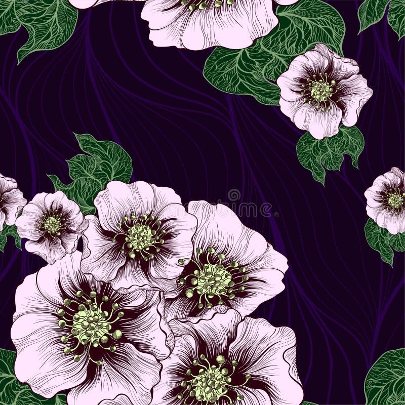 вектор картины безшовный картина предпосылки - флористические мотивы Цветы Используйте напечатанные материалы, знаки, детали, веб иллюстрация вектора