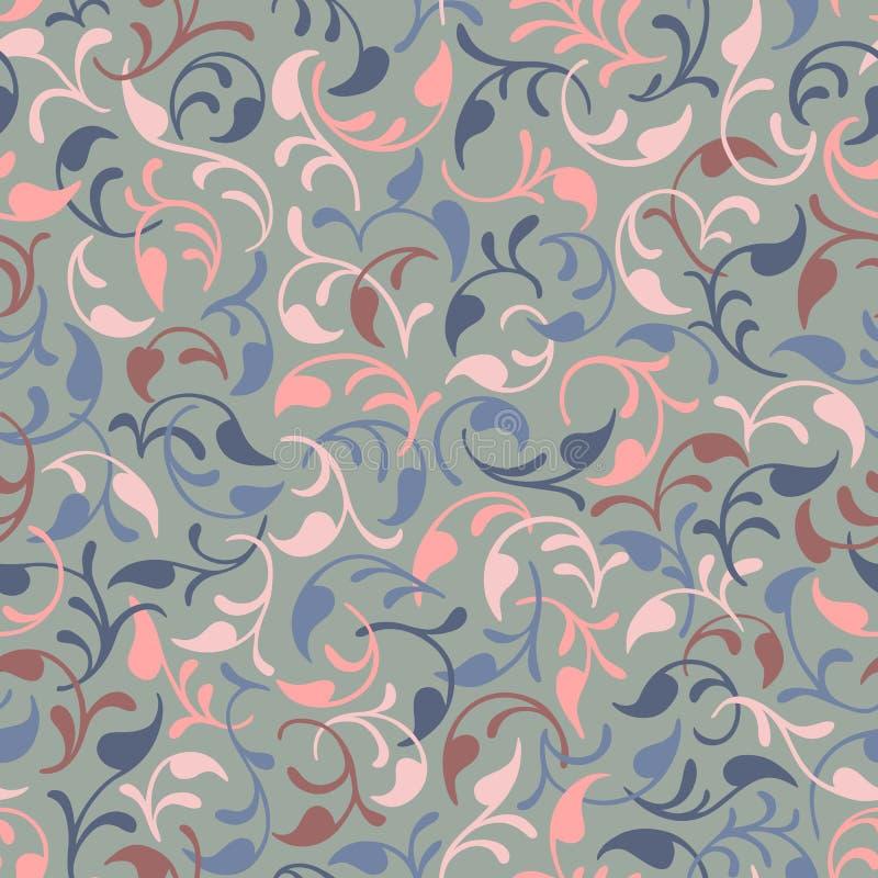 вектор картины безшовный Листья изолировано Голубая, розовая, коричневая предпосылка иллюстрация вектора