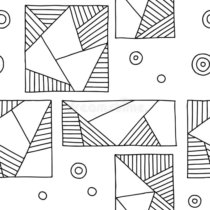 вектор картины безшовный Предпосылка черно-белой геометрической руки вычерченная с прямоугольниками, квадратами, треугольниками,  бесплатная иллюстрация