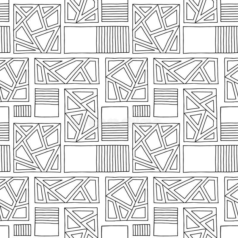вектор картины безшовный Предпосылка черно-белой геометрической руки вычерченная с прямоугольниками, квадратами, точками Печать д иллюстрация штока