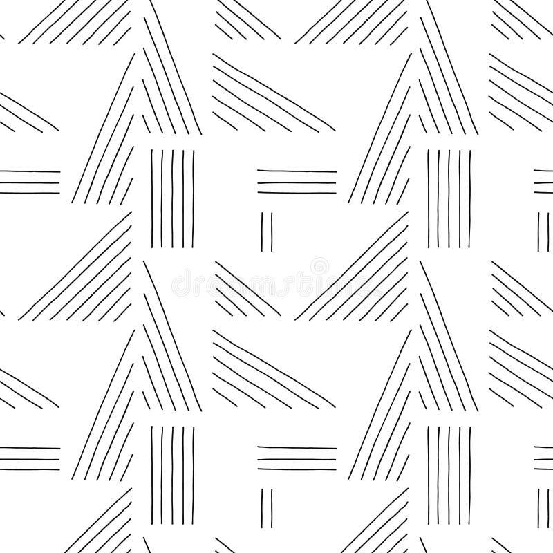 вектор картины безшовный Предпосылка черно-белой геометрической руки вычерченная с линиями Печать для декоративных обоев, упаковы бесплатная иллюстрация