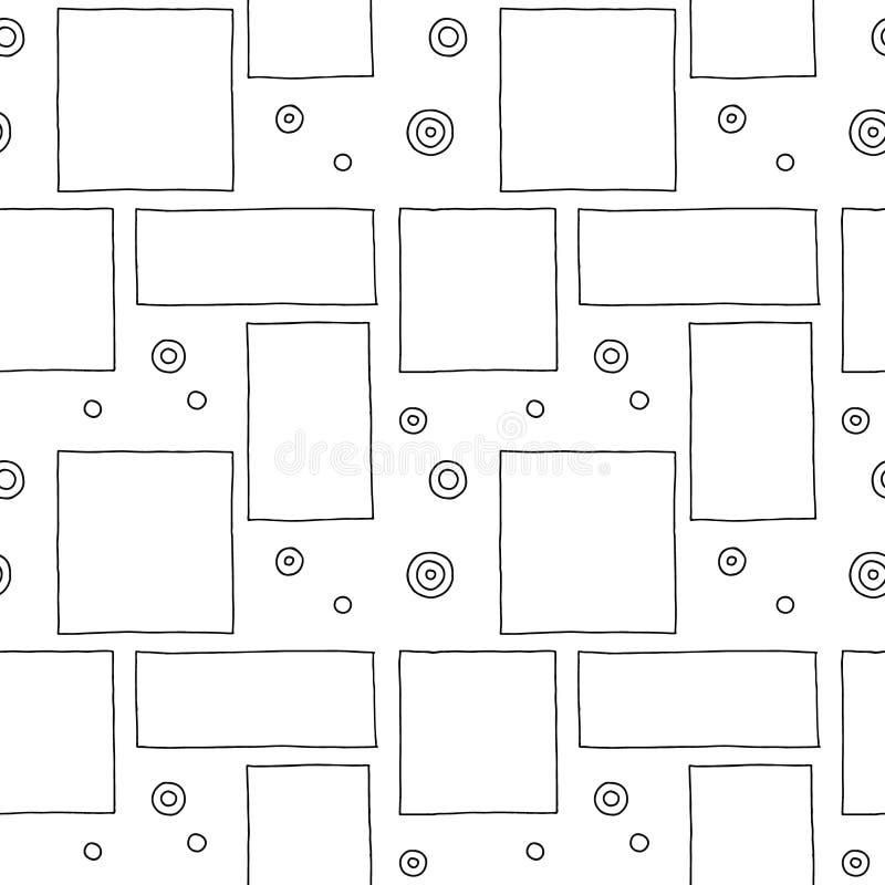 вектор картины безшовный Предпосылка черно-белой геометрической руки вычерченная с прямоугольниками, квадратами, точками Простая  иллюстрация вектора