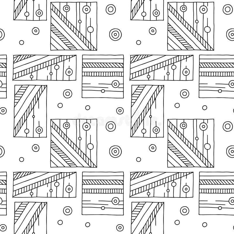 вектор картины безшовный Предпосылка черно-белой геометрической руки вычерченная с прямоугольниками, квадратами, точками Печать д бесплатная иллюстрация