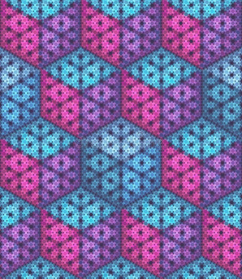 вектор картины безшовный Равновеликие кубы сделанные частиц шестиугольника иллюстрация вектора