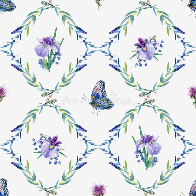 вектор картины безшовный Радужка акварели, листья, бабочка иллюстрация штока
