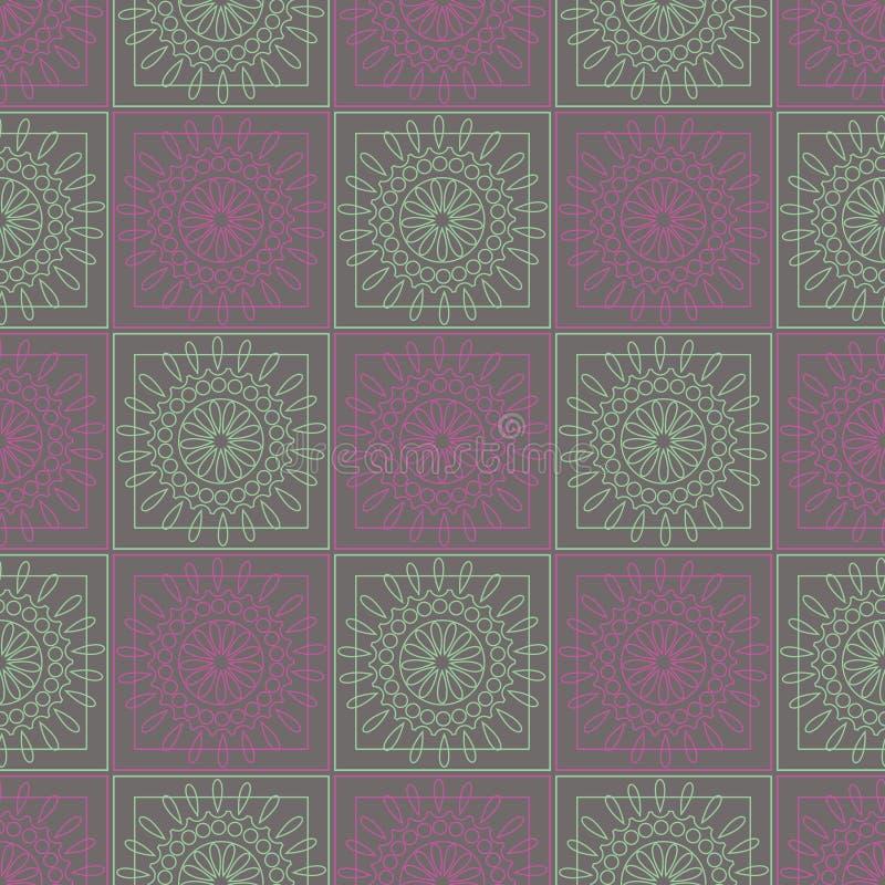 вектор картины безшовный Симметричная геометрическая предпосылка с красочными квадратами и кругами на фиолетовом фоне иллюстрация штока