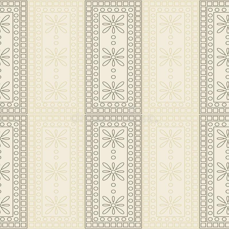 вектор картины безшовный Симметричная геометрическая предпосылка с коричневыми прямоугольниками на светлом фоне декоративный орна бесплатная иллюстрация