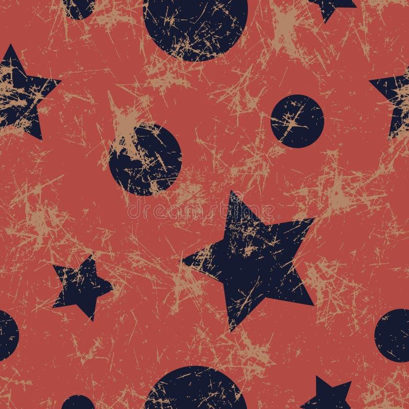 вектор картины безшовный Творческая геометрическая голубая и красная предпосылка с звездами и кругами иллюстрация штока