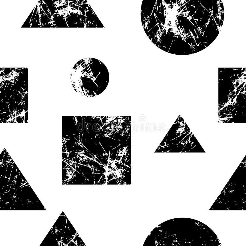 вектор картины безшовный Творческая геометрическая черно-белая предпосылка с геометрическими диаграммами бесплатная иллюстрация
