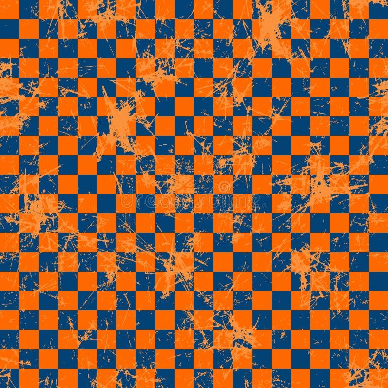вектор картины безшовный Творческая геометрическая checkered голубая и красная предпосылка с квадратами иллюстрация штока