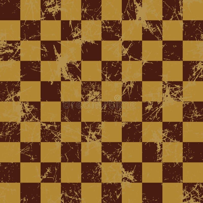 вектор картины безшовный Творческая геометрическая checkered коричневая предпосылка с квадратами иллюстрация вектора