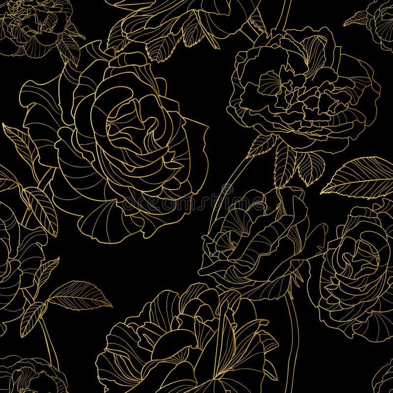 вектор картины безшовный Цветки золотого плана розовые на черной предпосылке бесплатная иллюстрация