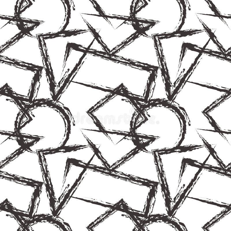вектор картины безшовный Черно-белая геометрическая предпосылка с треугольниками, кругами, квадратами и прямоугольниками бесплатная иллюстрация